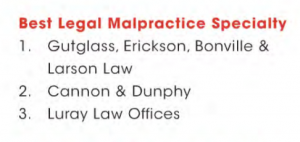 Gutglass, Erickson, Bonville & Larson Recognized as Top Malpractice Attorneys in Wisconsin Law Journal Reader Rankings